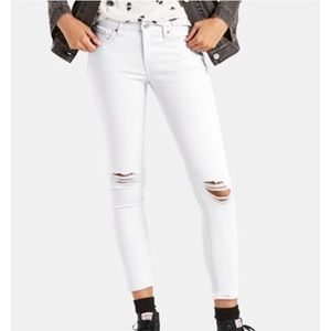 Levi's 711 Skinny Distressed White Jeans